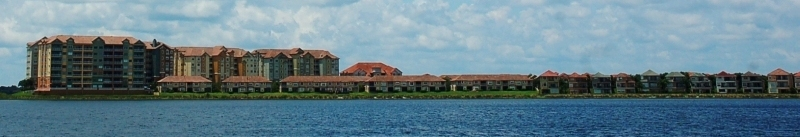 View of Dr Phillips homes across Big Sand Lake