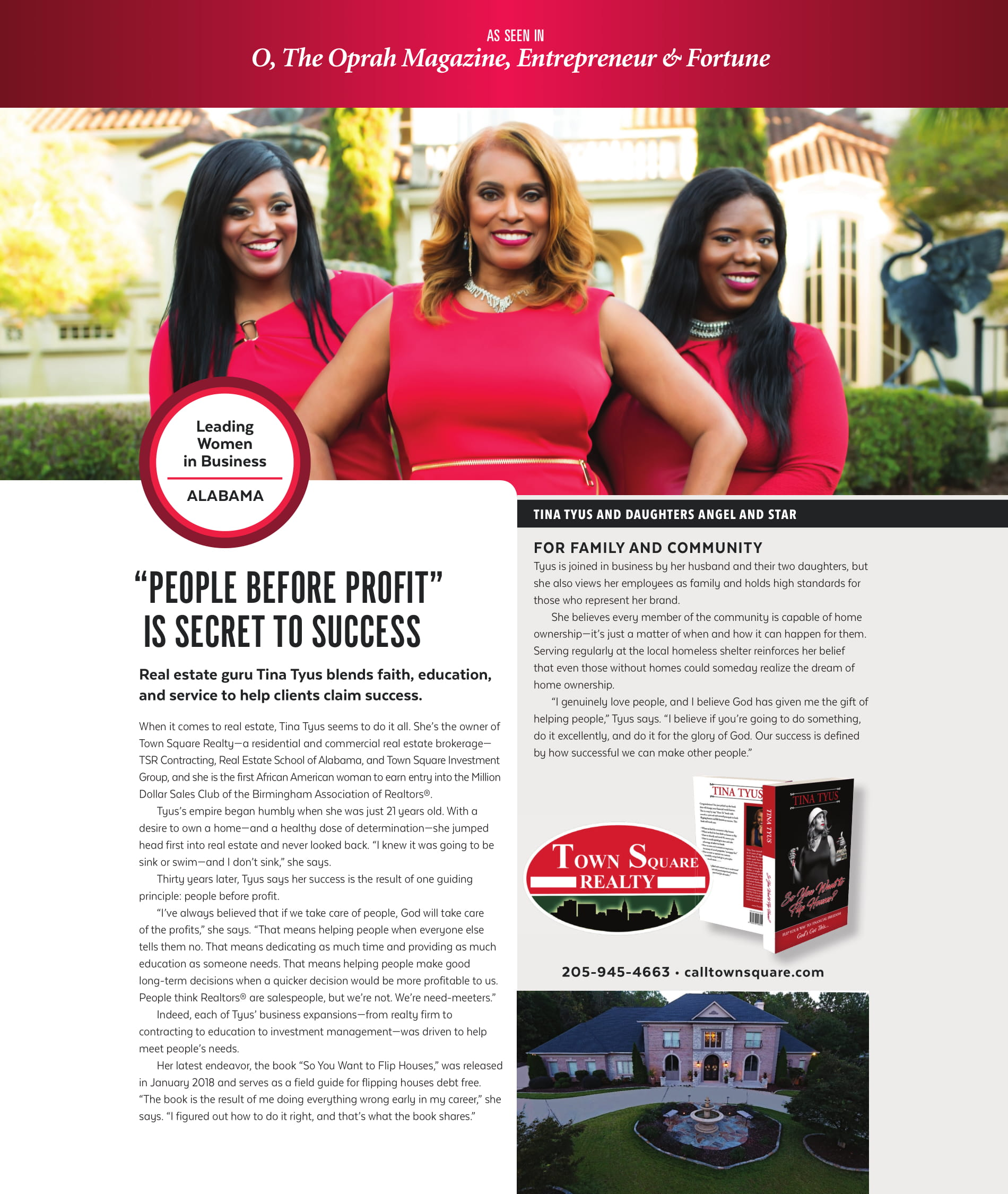 Tina Tyus, the owner of Town Square Realty, as featured in different popular magazines! O Magazine, Entrepreneur, Fortune, Top Agent