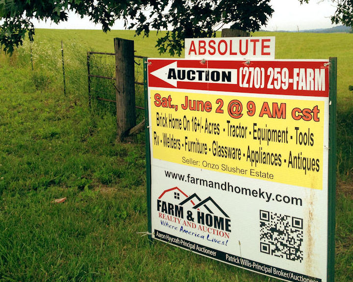 auction signs, auction time, land for sale