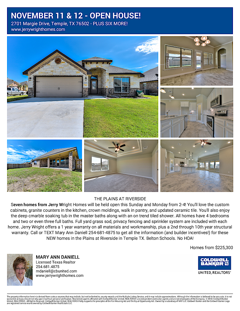 Jerry Wright Homes Open House November 11 Temple TX