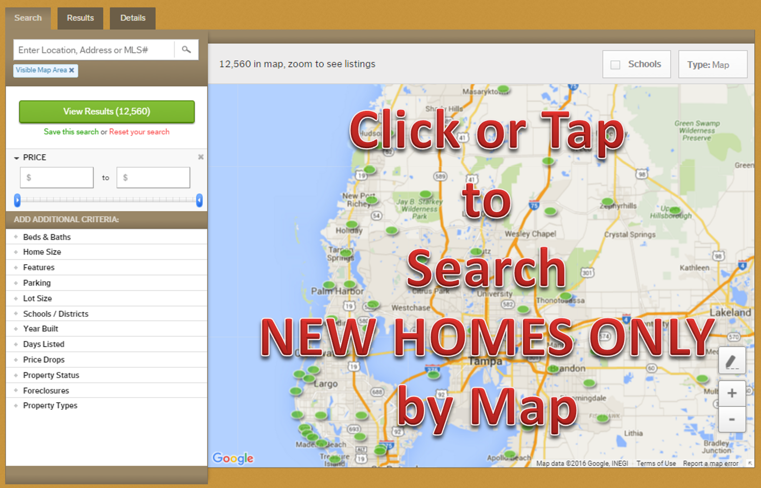 Search the Entire Tampa Area NEW HOMES ONLY for Sale