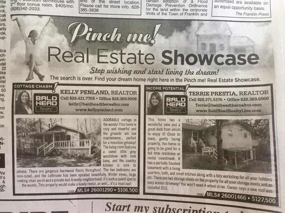 Franklin NC Newspaper Real Estate Ad