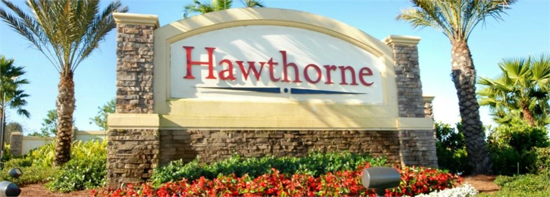Entry sign to Hawthorne community in Bonita Springs FL