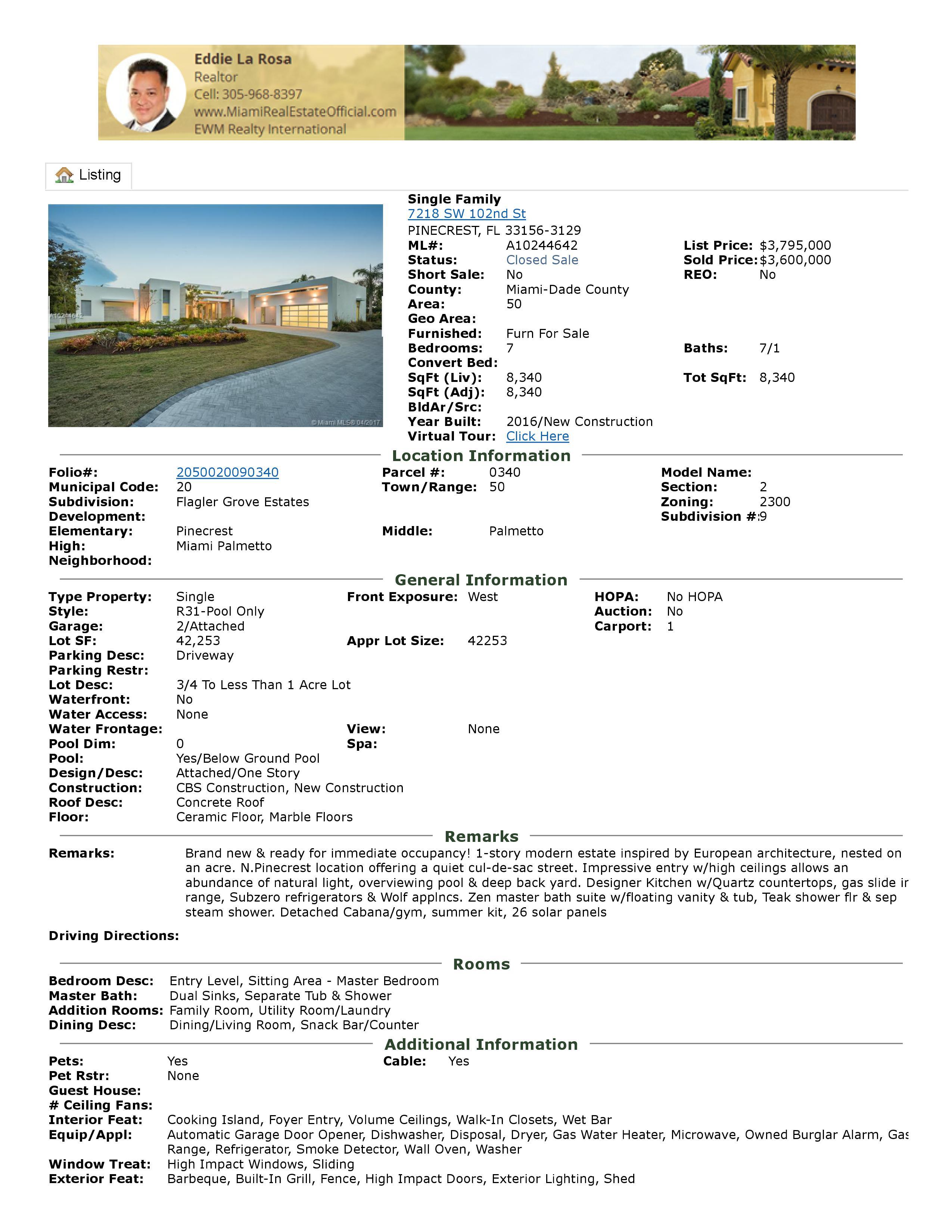 7218 sw 102 street pinecrest florida 33156
