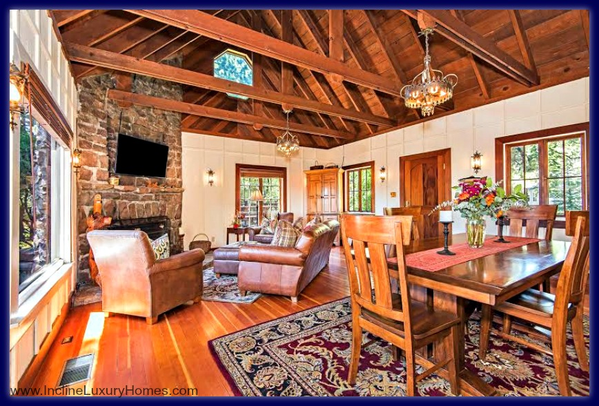 Welcome visitors to the beautiful living room of this exquisite Incline Village Nevada luxury home for sale.