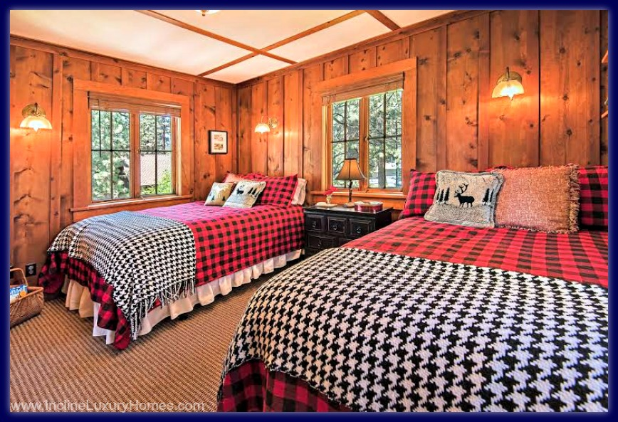 Cozy and spacious, the wonderful bedroom in this Incline Village Nevada luxury home for sale has everything you want in a room.