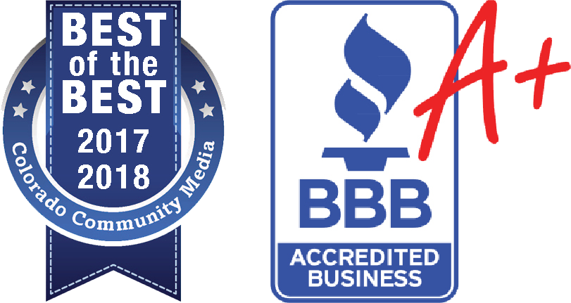 Best of the best colorado community media logo, BBB A+ Accreditation logo