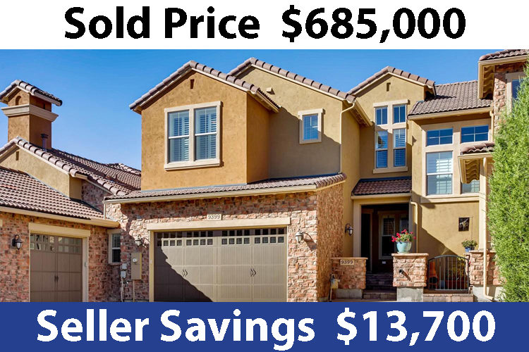 Right Photo, Flat fee real estate by location, home sold price $685,000  Seller Savings $13,700
