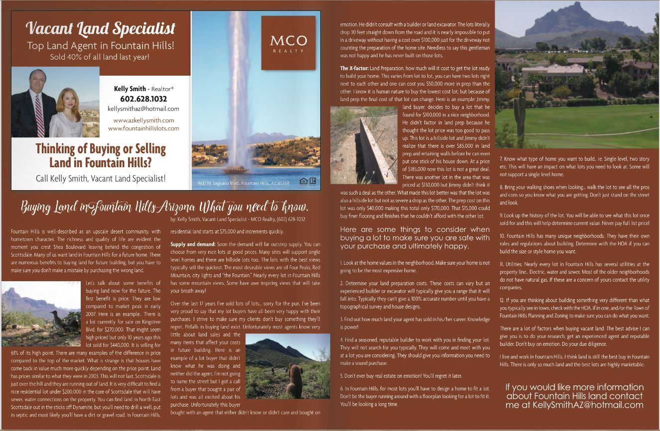 Magazine Article about buying land in Fountain Hills