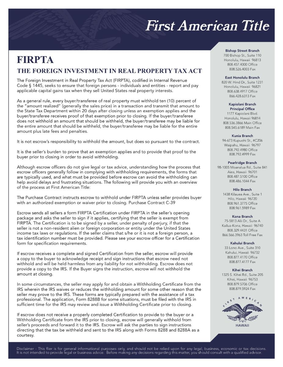 Foreign Investment - FIRPTA | Jennifer Lee Busto | Honolulu Real ...