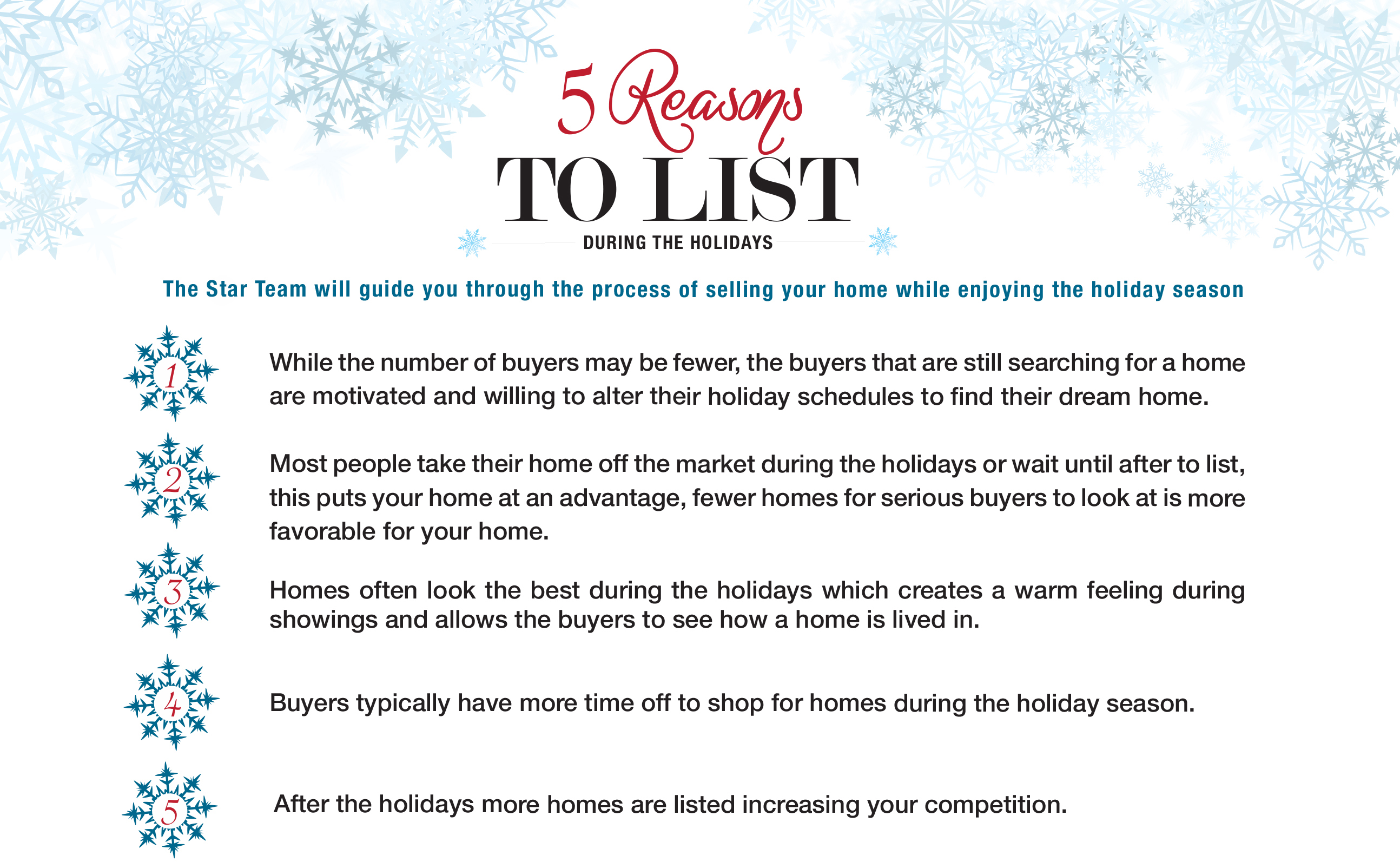 top 5 reasons to list your home during the holidays