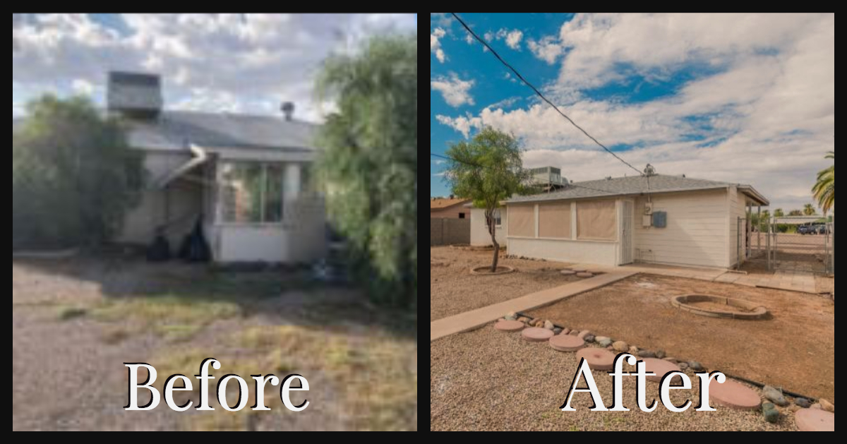 Backyard house flipping before and after