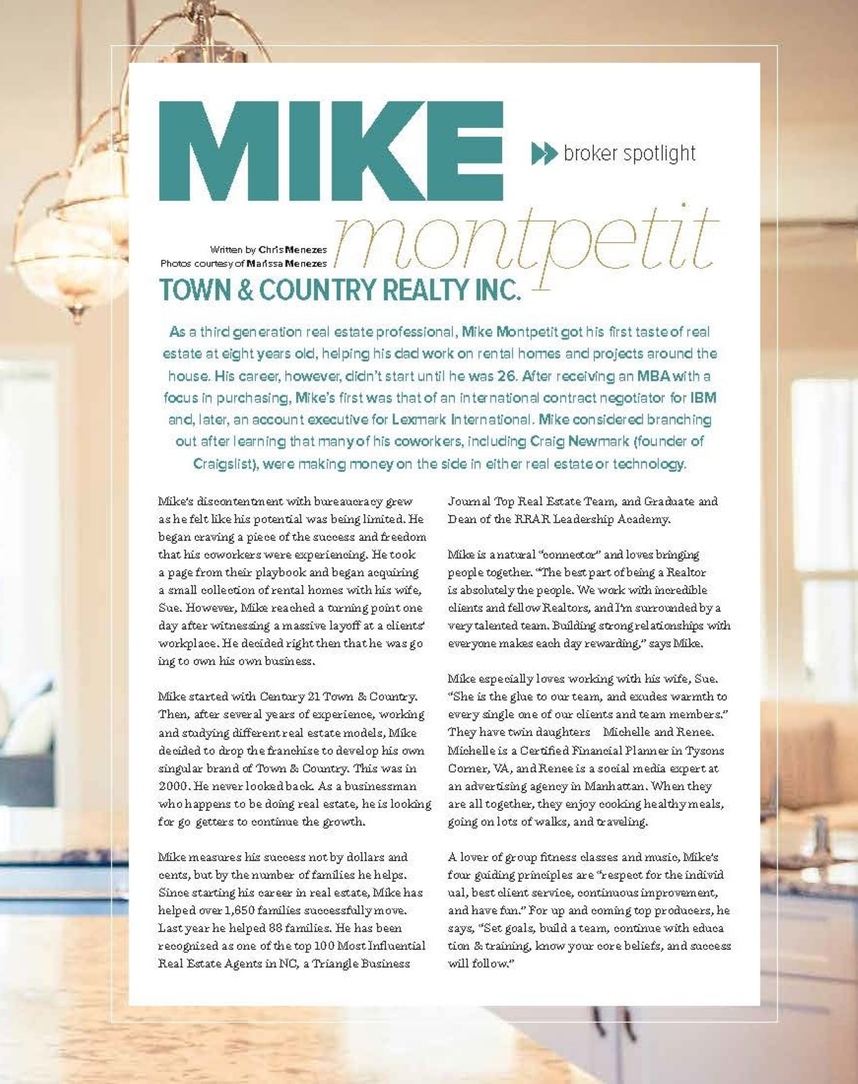 Mike Montpetit in Triangle Real Producers Magazine