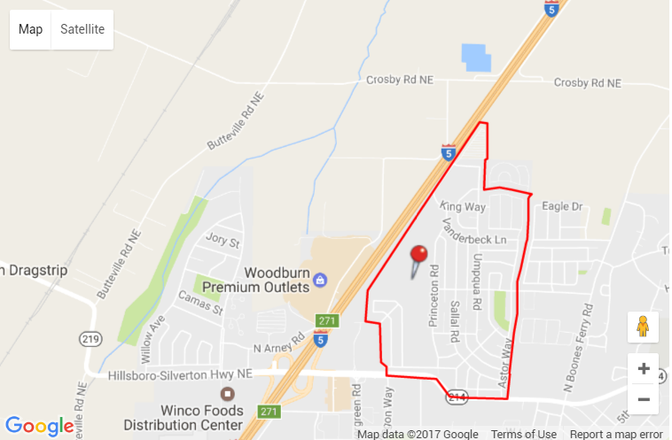 Map of homes in Woodburn estates in Woodburn Oreogn