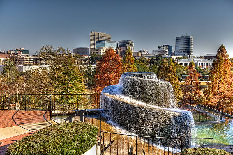 Image courtesy of Klinhphotog/KLinh Evelyn Grace Photography / The spectacular Finlay Park fountain waterfall in downtown Columbia SC