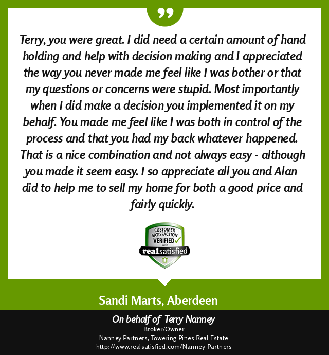 A RealSatisifed Review for Terry Nanney.  Full review listed in blog post.