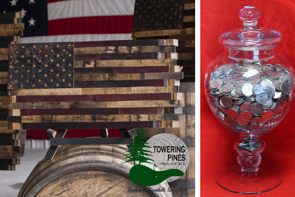 Picture of a Heritage Wood Cask Flag and A Jar of Nickels