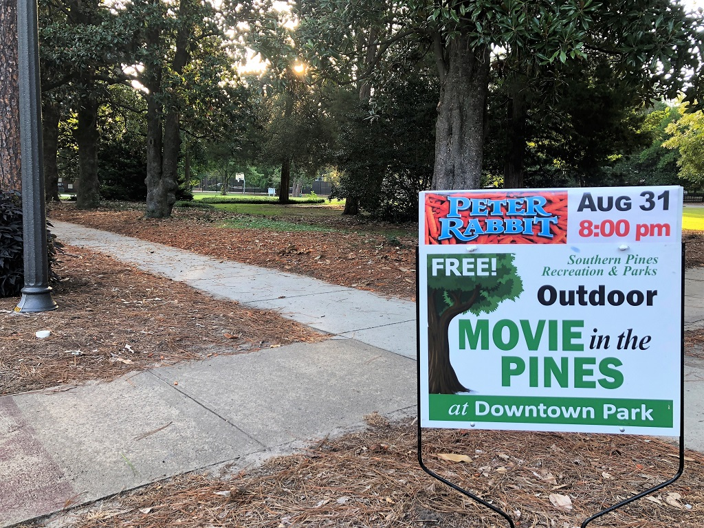 Sign for outdoor movies