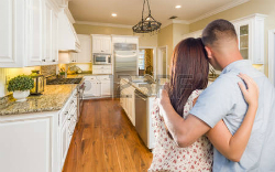 Young hopeful couple buying a home