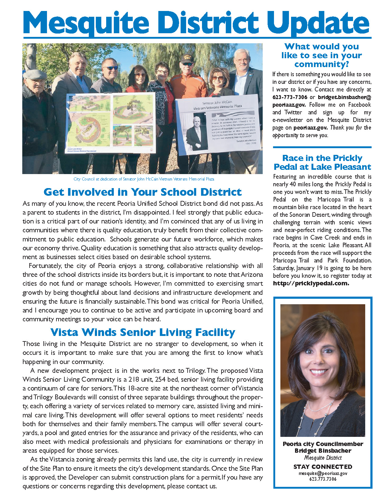 Monthly Mesquite District newsletter, courtesy of Friedman Realty Associates