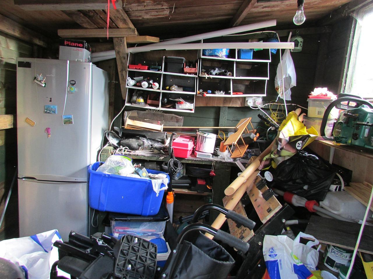 Clutter in a garage.
