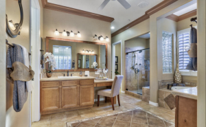 luxurious master bathroom with vanity shower and bath