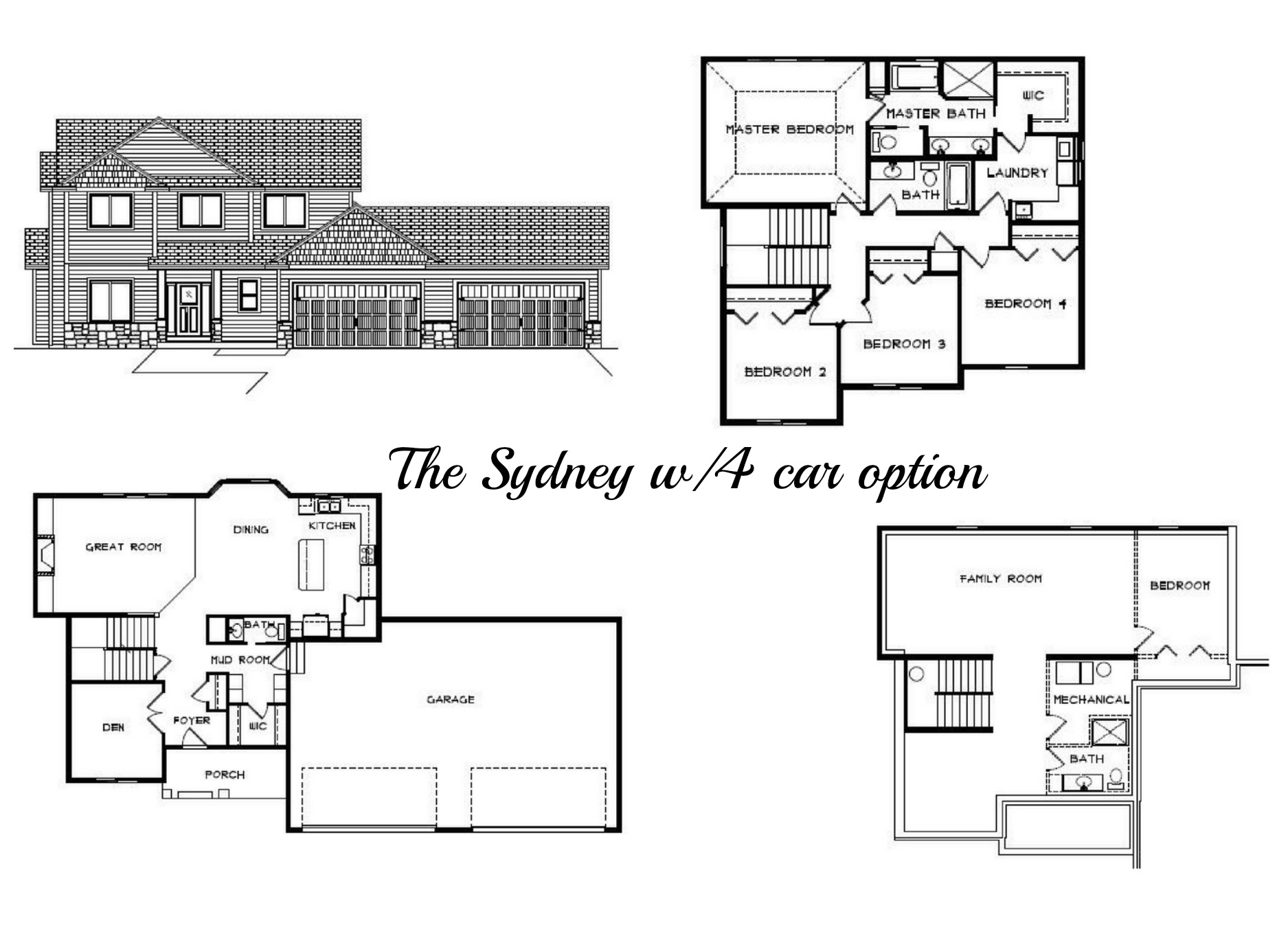 2 story floor plan 4 car