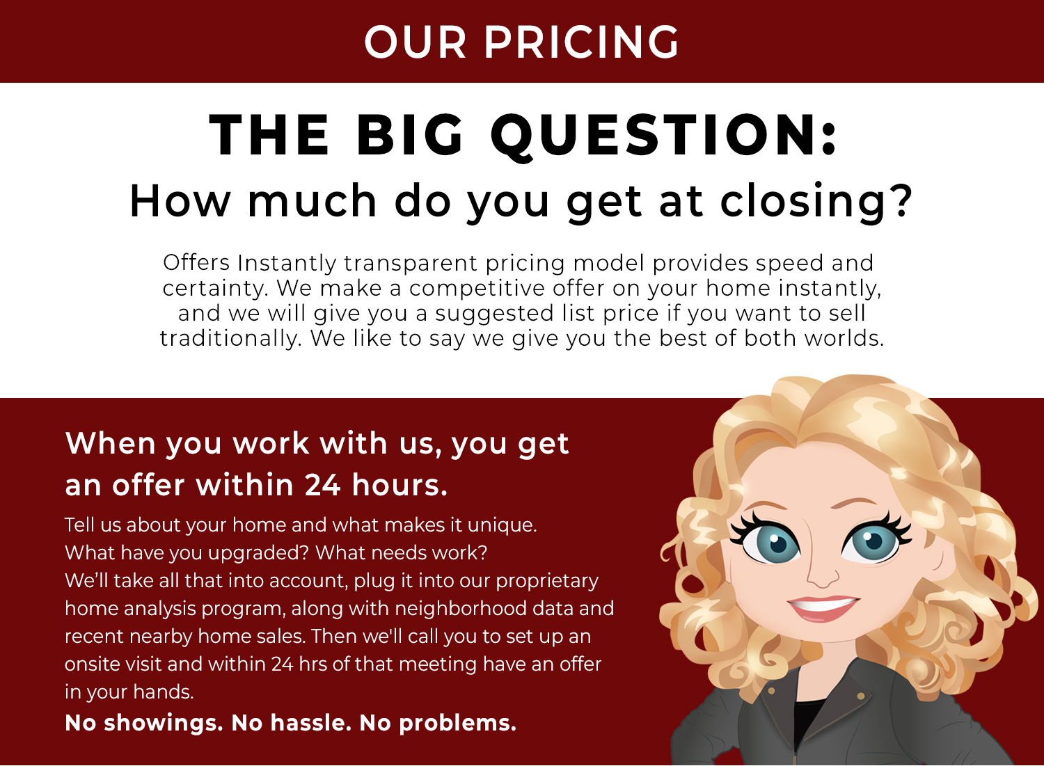 Using our transparent pricing model we will provide a fair offer for you home within 24 hours