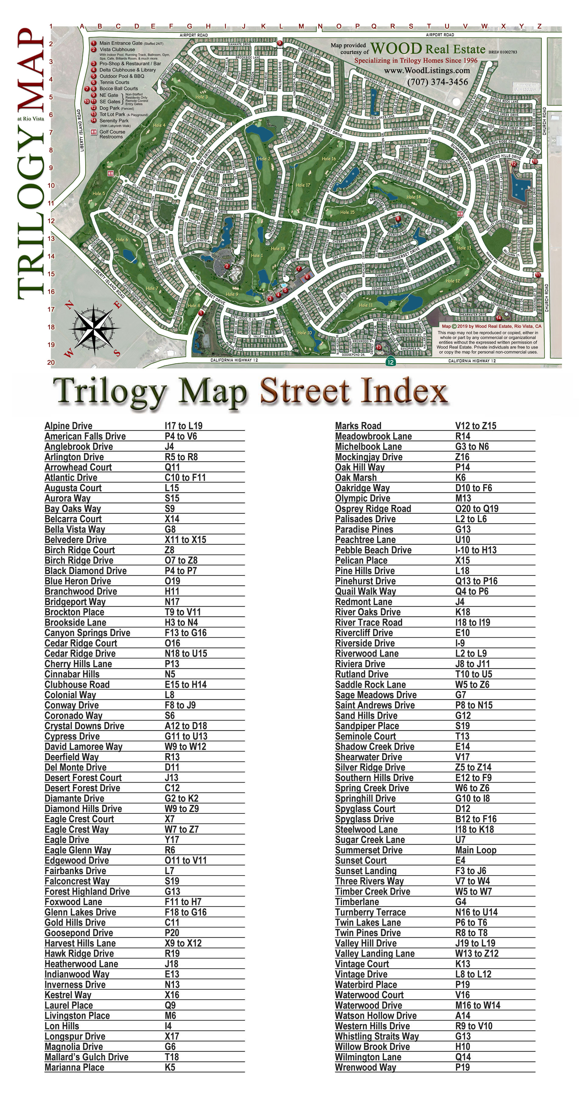Wood Real Estate's Exclusive 2017 Trilogy Map with Street Index