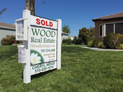 Wood Real Estate Yard Sign with SOLD Rider.