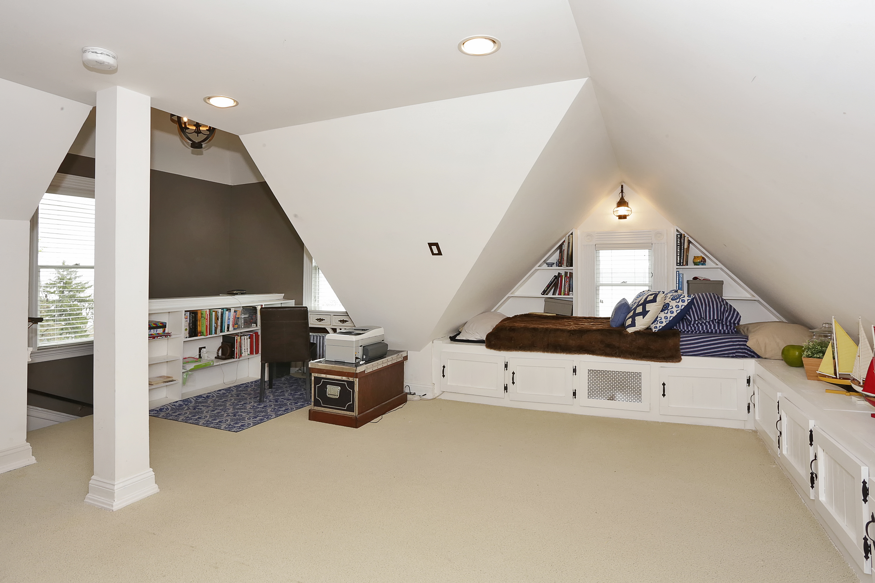 Finished attic at  221 Hudson Terrace a beautiful home for sale in Piermont by Donna Cox top Rockland County realtor