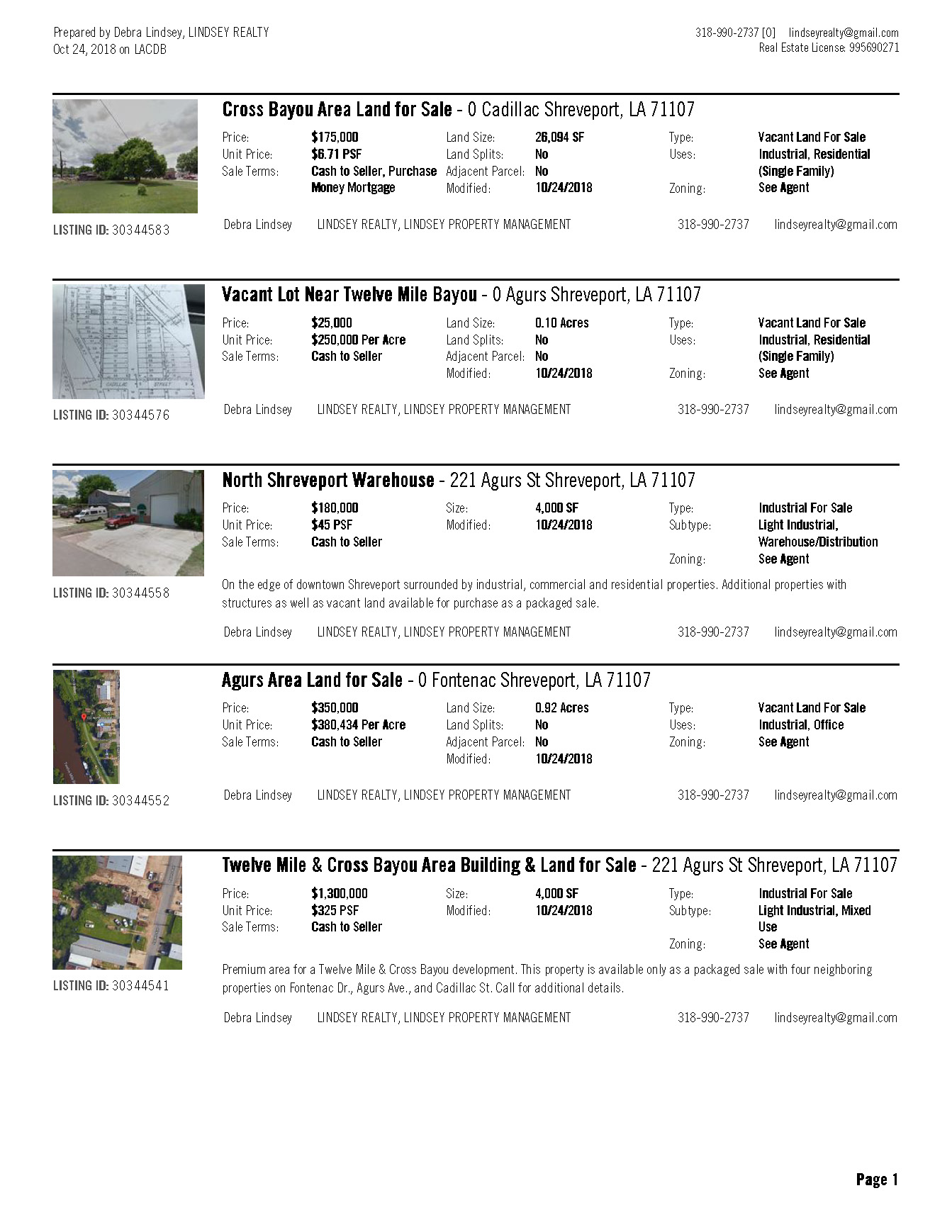 Commercial Listings | Debra Lindsey | 318-990-2737