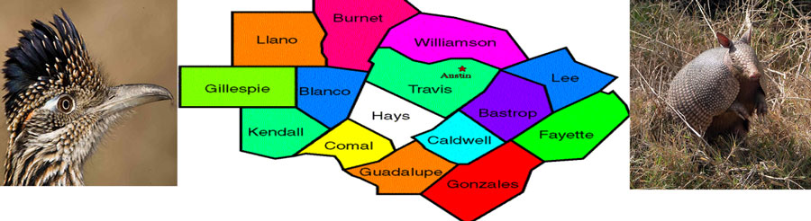 Central Texas County Map