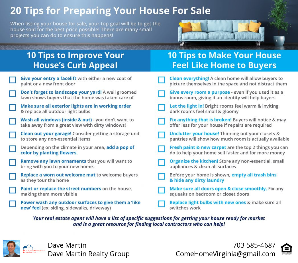 20 Tips To Get Your Northern Virginia home sold for best price fast Dave Martin Realtor