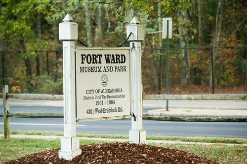 Fort Ward Park original park entrance sign in Alexandria Va 22304