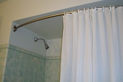 bowed shower curtain