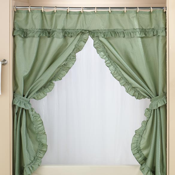 bathroom staging tips to get your home sold faster in Northern Virginia add a valance shower curtain for elegance luxury