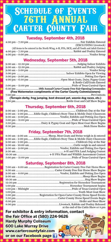 Schedule of Events for Carter County Fair September 2019