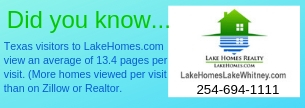 Texas visitors to LakeHomes.com view more pages than anyone does on Zillow or Realtor