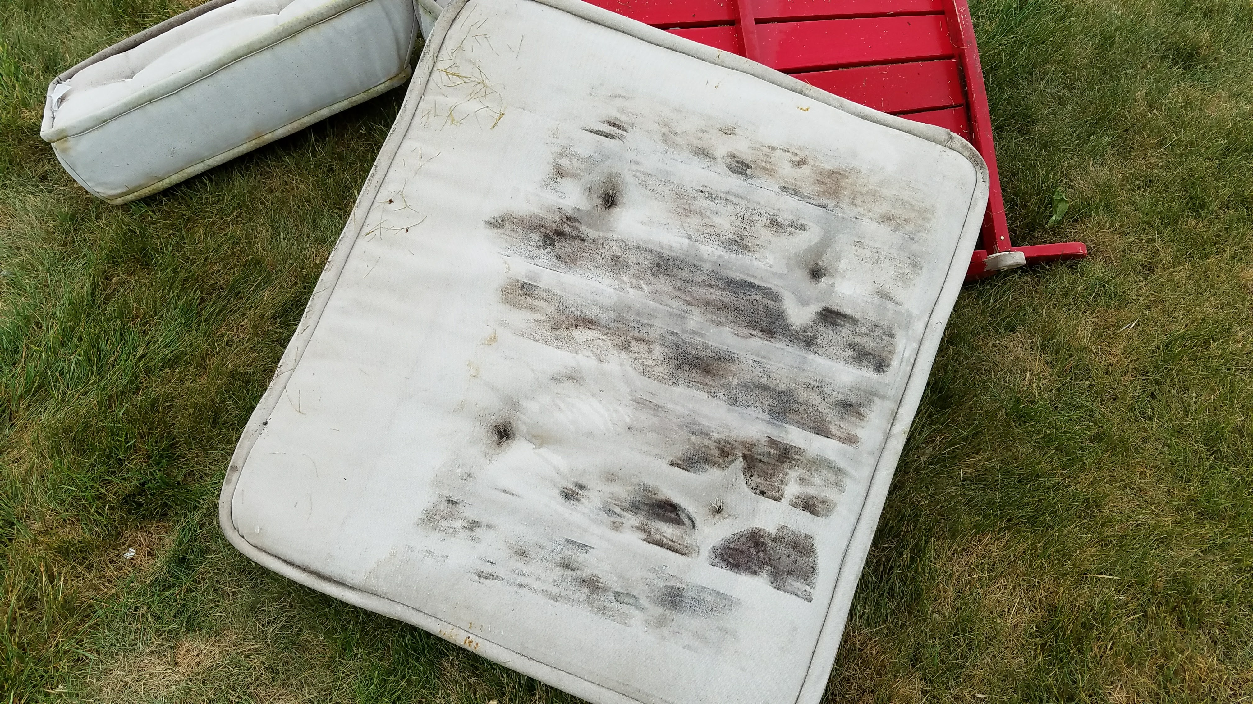 Another view of dirty white cushions
