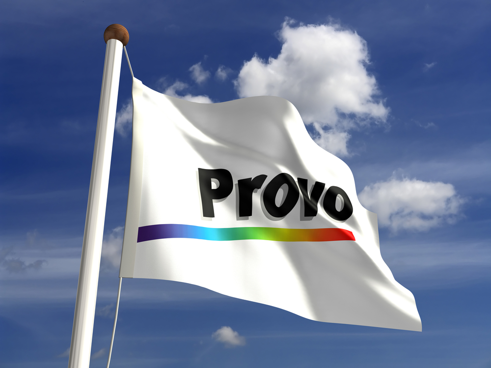 Provo flag flying in the wind