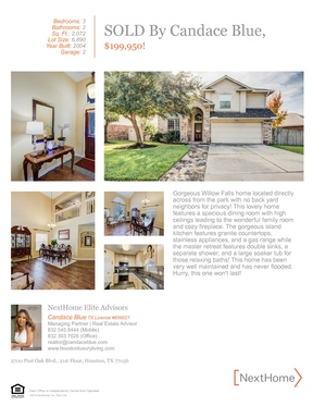Single Family Home Sold: 20331 Mammoth Fall Drive