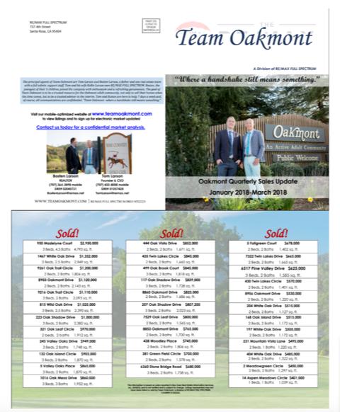 Oakmont Village SOLD Homes Newsletter