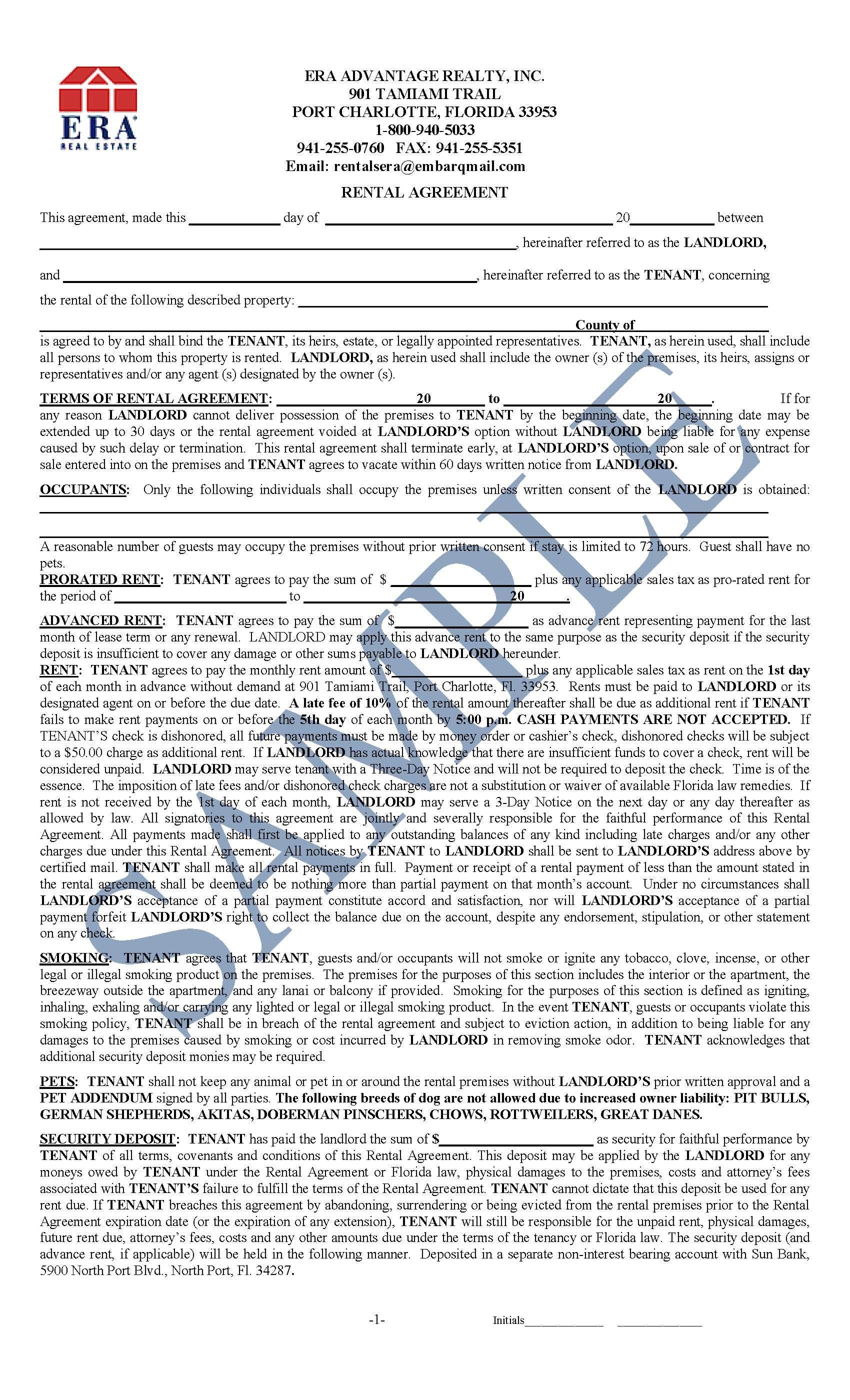 Sample Rental Agreement | Joel Ament | 941-255-5300 | Port Charlotte on printable eftps form, sample w-2 form, sample 1099 form, sba debt schedule form, registration form, payment plan form, sample amended tax return form 2012,