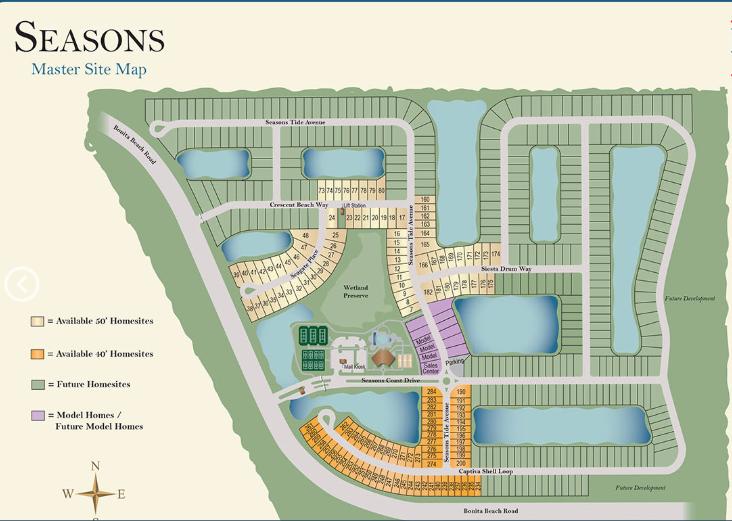 Site map of DR Horton's Seasons Bonita new home community in Bonita Springs