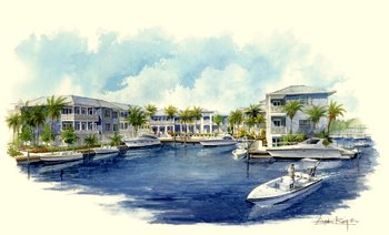 Buildings surround the marina in this architect's rendering of the Mainsail development in Holmes Beach.