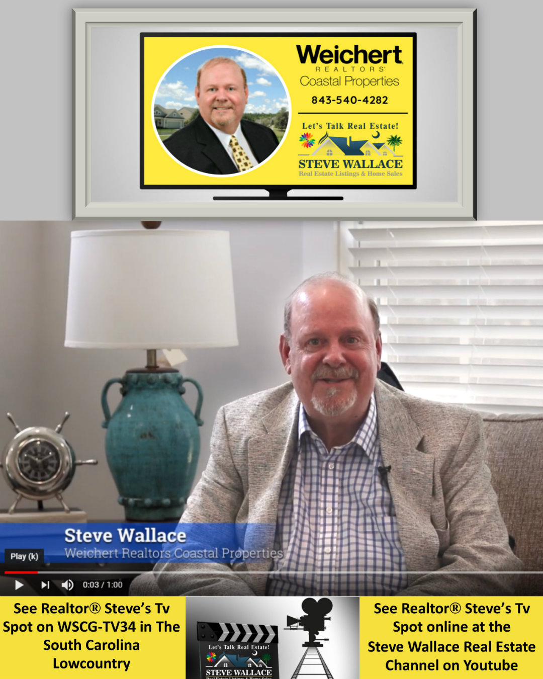 Tv Spot, Realtor in Bluffton, Steve Wallace, Television Ad, Real Estate, Homes for Sale, South Carolina