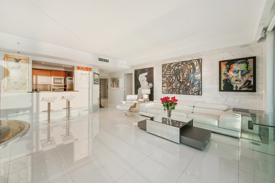 Living room at Jade Residences Brickell #2311