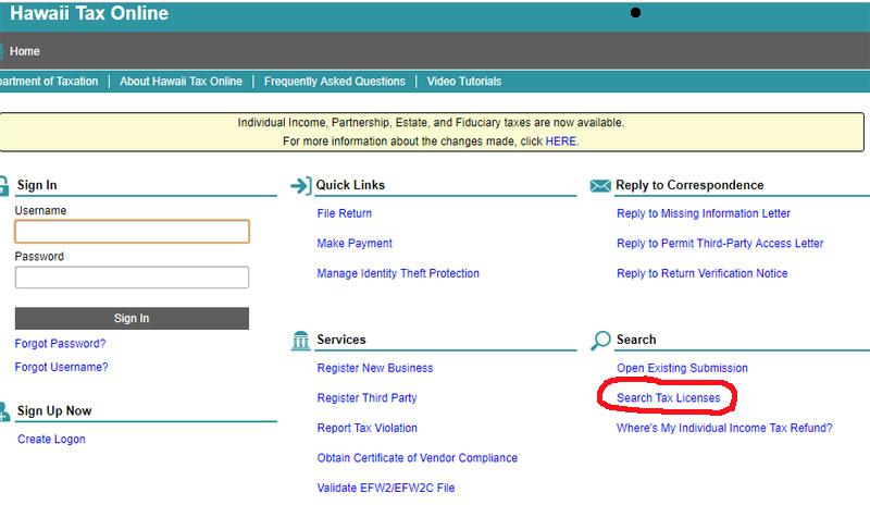 Hawaii Tax License Search