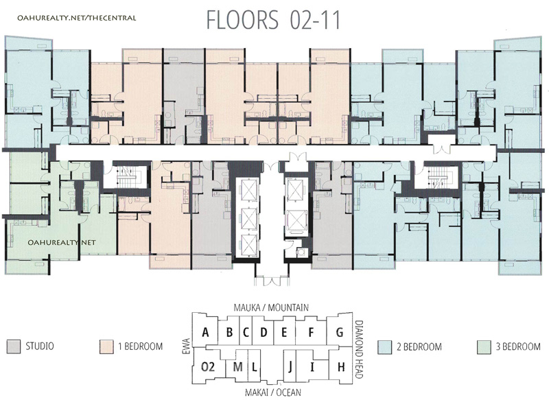 floors 2 through 11 the central ala moana